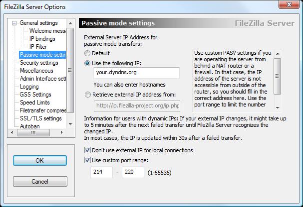 FileZilla - Passive Mode Settings