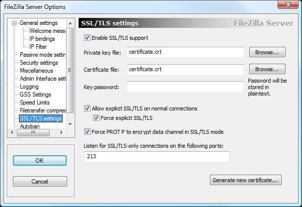 FileZilla - TLS Settings