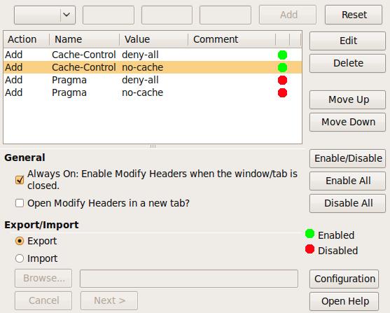 Bildschirmfoto-Modify Headers